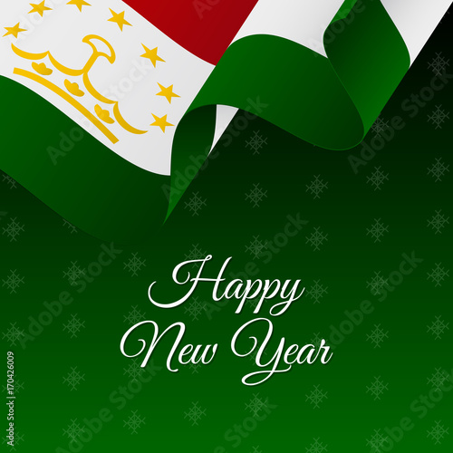 happy new year banner tajikistan waving flag snowflakes background vector illustration