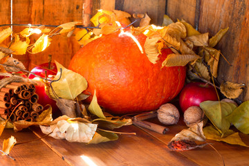wood background with pumpkin, apples, maple leaves, nut and cinnamon. selective focus