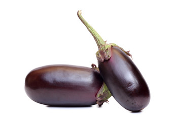 Black eggplant vegetable on white background