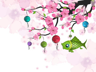 Chinese New Year card with plum blossom and lantern