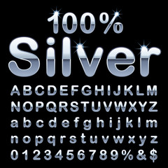 round silver letters
