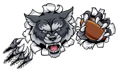 Wolf American Football Mascot Breaking Background