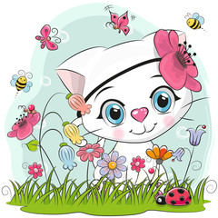 Cute Cartoon Kitten on a meadow