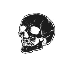 Black Skull on a white background. Dark style illustration. It can be used for printing on t-shirts, postcards, or used as ideas for tattoos.