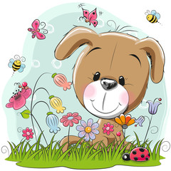 Cute Cartoon Puppy on a meadow