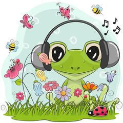 Cute Cartoon Frog on a meadow