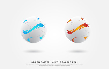 design pattern on the soccer ball. blue and red color on the football mock up. Vector Illustration