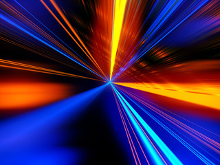 Light motion. Speed motion on the neon glowing road at dark. Speed motion on the road. Colored light streaks acceleration. Abstract illustration. Pink and Blue motion streaks.