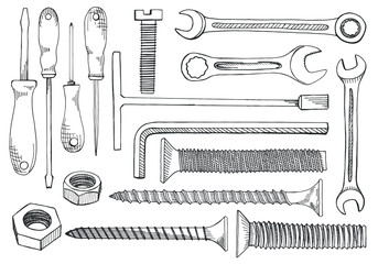Set of tools and fasteners. Screwdriver, wrench, spanner, hex key, screw, rawlplug, nail expansion anchor, nut. Hand drawn illustration in vector sketch style.