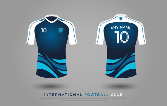 soccer t-shirt design uniform set of soccer kit. football jersey template for football club. blue and white color, front and back view soccer shirt mock up. Vector Illustration