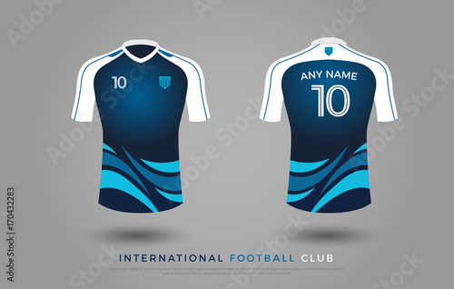310873f8d soccer t-shirt design uniform set of soccer kit. football jersey template  for football club. blue and white color, front and back view soccer shirt  mock up.