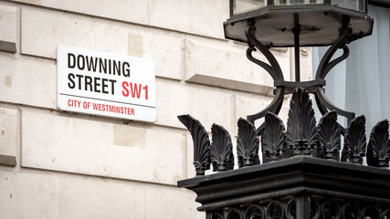 Downing Street road sign, Westminster, London