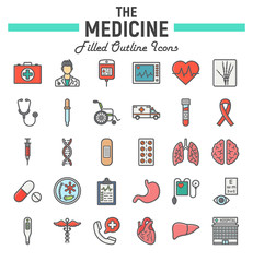 Medicine filled outline icon set, medical symbols collection, healthcare vector sketches, logo illustrations, anatomy signs colorful line pictograms package isolated on white background, eps 10.
