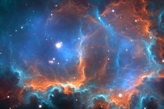 Abstract space nebula background, for use with projects on science, research, and education. 3d illustration