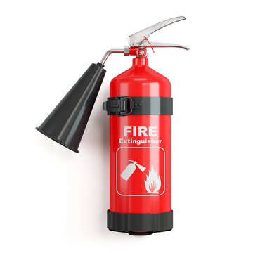 Industrial fire extinguisher on stand