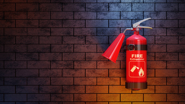Red fire extinguisher on brick wall