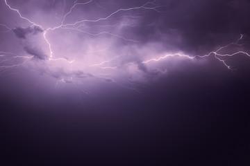 lightning at the night