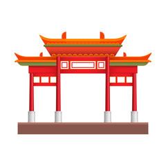 Chinatown building graphic design. Vector illustration.