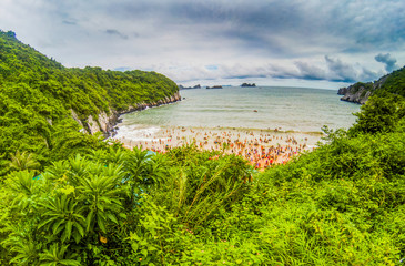 overcrowded beach in Cat Ba Island - it is a popular summer destination for Vietnamese tourists