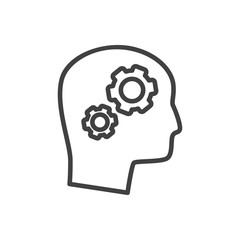 Isolated Thinking Head Outline Symbol On Clean Background. Vector Solution Element In Trendy Style.