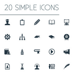 Vector Illustration Set Of Simple Training Icons. Elements Structure, Training, Directory And Other Synonyms Imagination, Education And Demonstration.