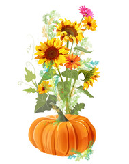 Vertical autumn border: orange pumpkin, yellow sunflowers, gerbera daisy flower, small green twigs of Asparagus on white background. Digital draw, illustration in watercolor style for design, vector