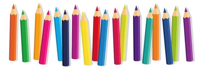 Vector Crayons_colored pencil collection loosely arranged_SET11