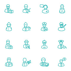 Set Of 16 Job Outline Icons Set.Collection Of Artist, Designer, Worker And Other Elements.