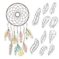 Dreamcatcher in boho style. Set of sketch style bird feathers with golden parts. Creative bohemia concept for wedding invitations, cards, tickets, congratulations, branding, logo label, emblem.