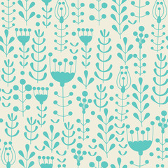 Seamless hand drawn spring pattern with grass, flower, branches and berries. Vector illustration. Background with floral motifs