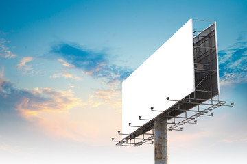Blank Outdoor Advertising Billboard Hoarding Against Cloudy Sky, White Copy Space for Mock Up Design or Marketing Message