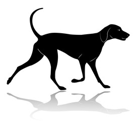 hunting dog walking silhouette - vector