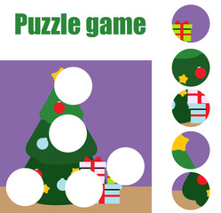 Puzzle for toddlers. Matching children educational game. Match pieces and complete the picture. Activity for pre school years kids. christmas, winter holidays theme