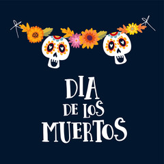Dia de los Muertos or Halloween greeting card, invitation. Mexican Day of the Dead. String decoration with mums flowers and ornamental sugar skulls. Hand drawn vector illustration, background.
