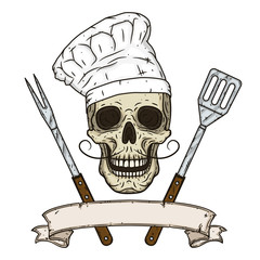 Skull in toque and crossed barbecue tools. Cartoon skull in hand drawn style. Chef skull.