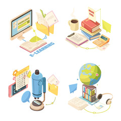 E-learning Isometric Design Concept