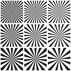 Set light ray pattern, Sun burst retro Pattern, vector template, pop art background, circular beam Sunburst vintage sunrise