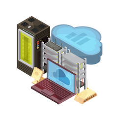 Data Cloud Isometric Composition