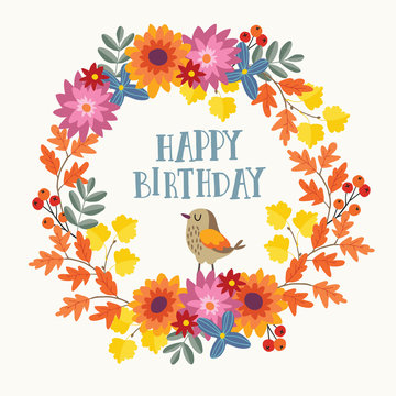 Cute hand drawn autumn birthday greeting card, invitation with bird and wreath made of mums flowers and colorful maple and oak leaves. Fall season concept. Isolated vector illustration.