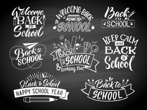 Set of monochrome school labels. Vector emblem design for education center or university