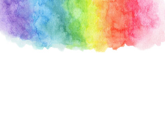 Watercolor rainbow background with space for text.
