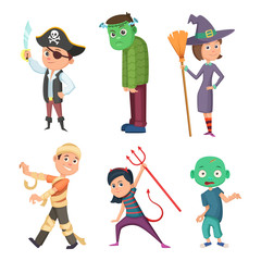 Cute and scary halloween cartoon costume for kids. Zombie, pirate, devil and others