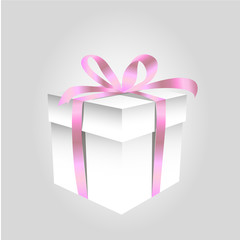 Square Gift Box with Ribbon and Isolated on Background
