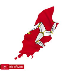 Isle of Man map with waving flag of country.