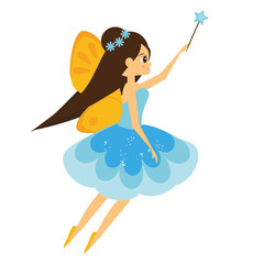 Beautiful flying fairy character with yellow wings. Elf princess with magic wand. Cartoon style
