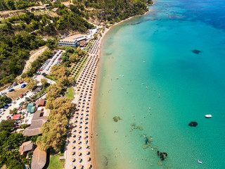 Aerial  view of Porto Zorro  Azzurro beach in Zakynthos (Zante) island, in Greece
