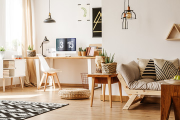 Modern loft with natural accessories