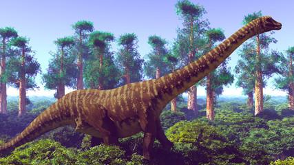 Prehistoric landscape with big diplodoc 3d rendering