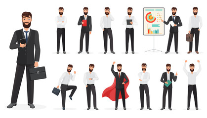Set of happy businessman character with different poses and actions. Constructor cartoon vector illustration.