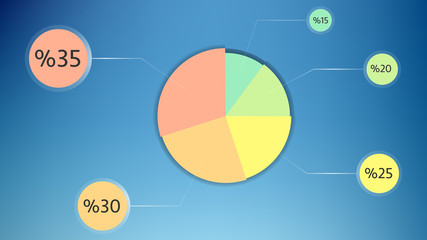 simple colored pie chart desing with background vector illustration